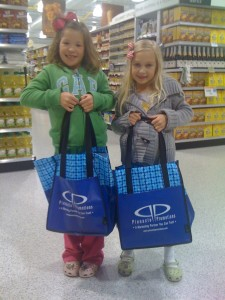 Chloe and Lily with Pinnacle Reusable Grocery Bags