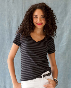 Anvil Ladies Striped V-neck Tee