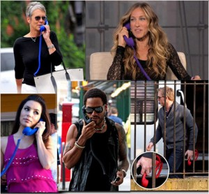 Image of celebrities using the Ringy Dingy throwback corded phone accessory for mobile devices.