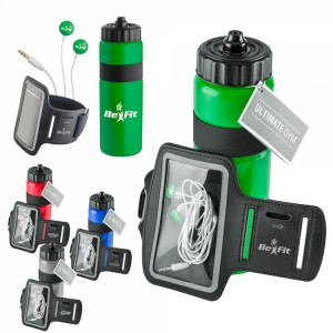 Ultimate Gym Set- Water bottle, earbuds and armband Item #GFT4106