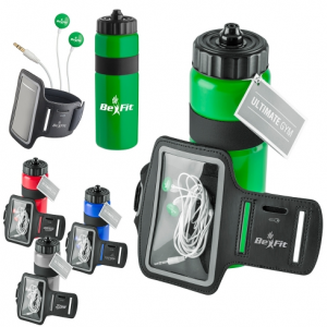 Ultimate Gym Set- Water bottle, earbuds and armband