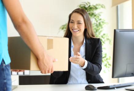 Woman receiving box