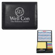 Square Leather Look Case Of Sticky Notes w/ Calendar & Pen