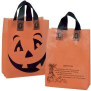"""Orange Frosted Jack-O-Lantern Shopping Bag - 10"""" x 5"""" x 13"""""""