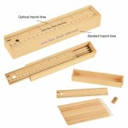 12 Piece Colored Pencil Set In Wooden Ruler Box