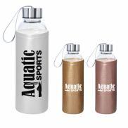 Aqua Pure Glass Bottle with Metallic Sleeve - 18 oz.