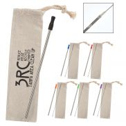 Stainless Straw Kit w/ Cotton Pouch