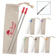 2 Pack Stainless Straw Kit w/ Cotton Pouch