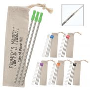 3 Pack Stainless Straw Kit w/ Cotton Pouch