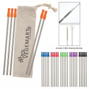 5 Pack Stainless Straw Kit w/ Cotton Pouch