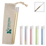 2 Pack Park Avenue Stainless Straw Kit w/ Cotton Pouch