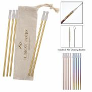 5 Pack Park Avenue Stainless Straw Kit w/ Cotton Pouch