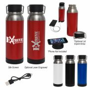 Carter Stainless Steel Bottle w/ Wireless Charger & Power Bank - 22 oz.