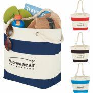 "Capri Stripes Cotton Shopper Tote - 13.25"" x 18"" x 6.75"""