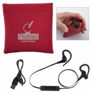 Leatherette Squeeze Tech Pouch with Wireless Earbuds