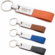 Leatherette Silver Key Ring