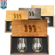 Heritage Stemless Wine Set in Wood Box