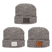 Milliner Cuffed Knit Beanie with Leather Patch