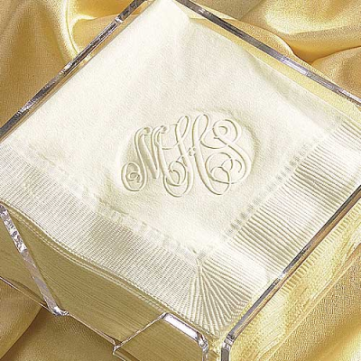 Monograms embossed on napkins