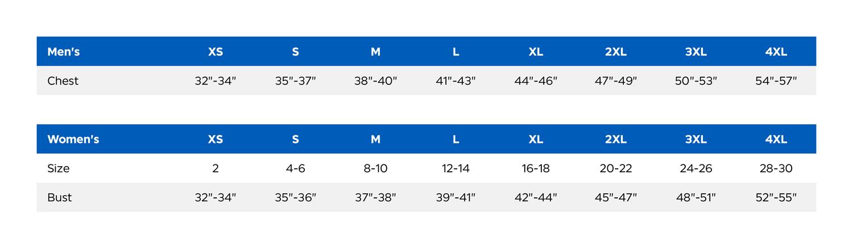 OGIO Size Chart